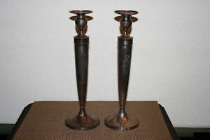 Antique Black Starr Frost Sterling Silver Candlestick Holders Pair 614