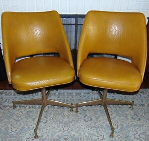 2 X Two 1960 S Mid Century Modern Brody Vinyl Swivel Chairs Atomic Mustard