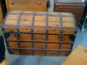 Huge Antique Pine Pirate Style Chest Steamer Trunk Collectibles Cabin Stagecoach