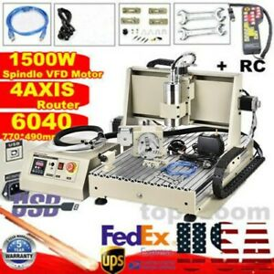 4 Axis Usb Cnc6040 Router Engraver Metal Milling Drilling Machine Remote Control