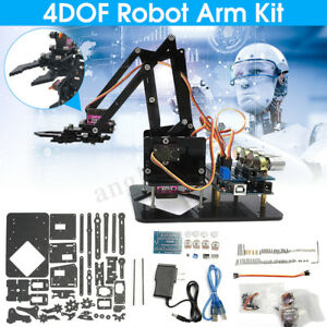 Diy 4dof Acrylic Robot Arm 4 Axis Rotating Mechanical Robot Arm Arduino Kit Usa