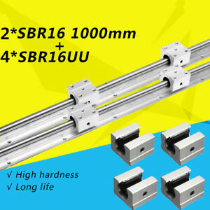 2x Sbr16 1000mm Support Linear Rail Optical Axis Guide 4 Sbr16uu Bearing Block