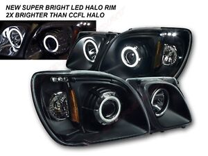Pair 1pc Style Black Led Halo Projector Headlights For 1998 2007 Lexus Lx470