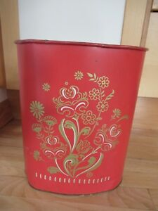 Vintage Harvell Painted Red Floral Trash Can