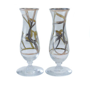 Art Glass Sterling Silver Overlay Footed Bud Vases Circa 1940