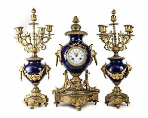 A Stunning 3 Piece French Porcelain Bronze Clock Garniture Circa 1920