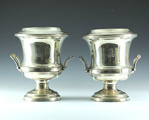 Pair Of Georgian Silverplate Wine Coolers Sheffield England Circa 1810