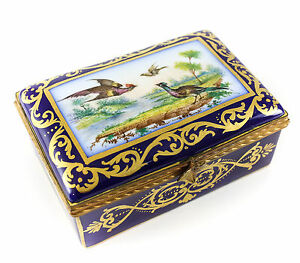 Sevres Porcelain Hinged Trinket Box Hand Painted Birds France Early 20th Cent