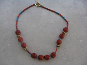 Vintage Chinese Cinnabar Coral Turquoise Gold Plate Toggle Necklace