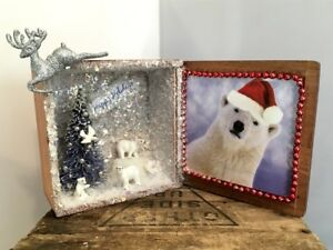 Vintage Wooden Cigar Box With Polar Bear Family From Japan Christmas Scene