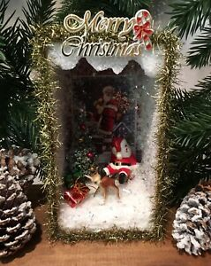 Antique Wooden Anchovies Box With Vintage Christmas Santa Scene