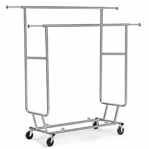 Tangkula Commercial Grade Collapsible Clothing Rolling Double Garment Rack Hange