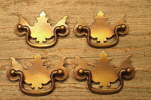 4 Vintage Ornate Chippendale Drawer Pulls Handles