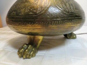 Antique Moroccan Turkish Brass Lamp With Paw Feet And Slag Glass Shade