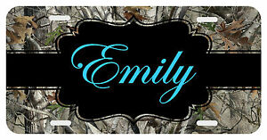 Personalized Monogrammed License Plate Auto Car Tag Camo Turquoise