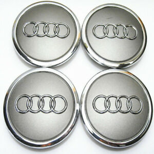 4pcs 69mm Wheel Center Hub Caps Logo Badge Emblem Sticker For Audi A6l Q5 Gray