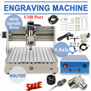 Usb 4 Axis Cnc 3040 Router Engraver Engraving Cutter T screw Desktop Cutting New
