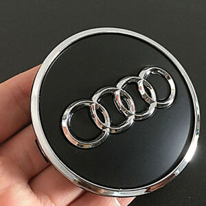 4pcs 69mm Wheel Center Hub Caps Logo Badge Emblem Sticker For Audi A6l Q5 Black