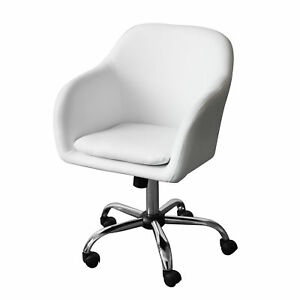 Executive Office Chair White Pu Leather Padded Seat Luxury Home Office Furniture