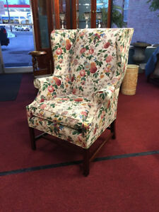 Floral Wing Back Chair With Stretcher Base Very Pretty Delivery Available