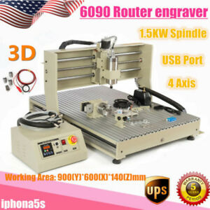 Usb 4 Axis 6090t 1500w Cnc Router Engraver 1 5kw Spindle Motor Milling Machine