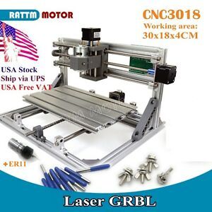 3018 Desktop Usb Grbl Er11 Diy Cnc Wood Pcb Engraving Laser Router Machine usa