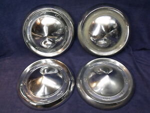 Original Set Of 4 1955 1956 Chevy Bel Air 150 210 Oem Dog Dish 10 5 8 Hubcaps