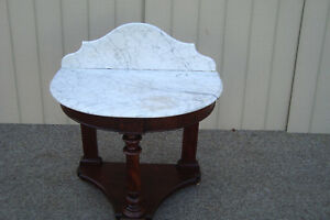 59133 Antique Victorian Empire Marble Top Console Table Stand
