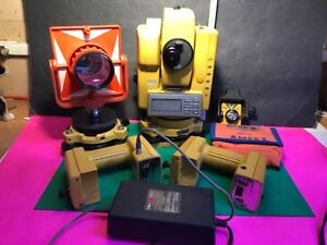 Topcon Gts 302 d Total Station 2 Extra Batteries Cases And Extra Attachment