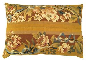 Decorative Antique French Aubusson Carpet Pillow W Floral Gold Brocade Backing