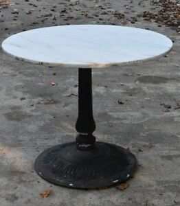 Marble Top Garden Table With Iron Base Top Is Old Base Is Modern