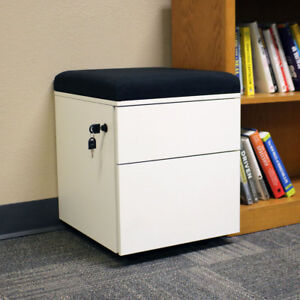 Rolling 2 drawer Wheeled Storage Cabinet Black Cushion By Casl Brands