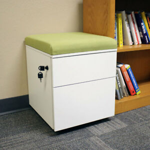 Rolling 2 drawer Wheeled Storage Cabinet Green Cushion By Casl Brands