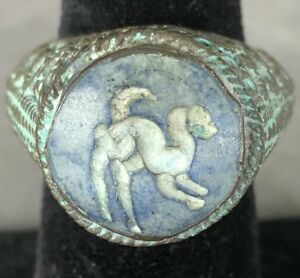 Ancient Viking Ring With Stone Animal Fine Artifact Extremely Rare