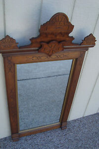 59180 Antique Victorian Walnut Mirror In Fancy Picture Frame