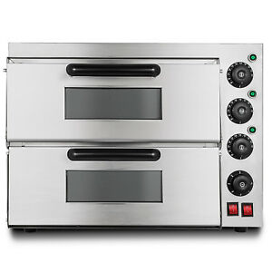 Electric 3000w Pizza Oven Double Deck Ceramic Stone 110v Bake Broiler Toaster