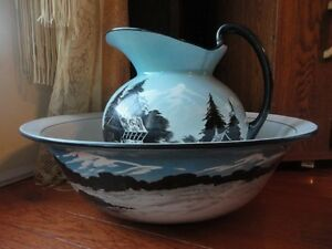 England Pitcher Basin Bowl Lg Blue Black Hand Painted Antique Victorian