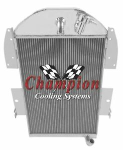 3 Row Rel Radiator W 2 10 Fans For 1934 35 1936 Chevy Pickup Factory 6 Cyl Eng