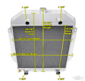 3 Row Rel Champion Radiator For 1949 1953 Ford Cars Flathead Configuration