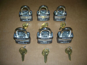 Lot Of 6 Master Lock 1ka Keyed Alike Identical Same Padlocks F s