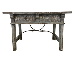 Vintage Spanish Renaissance Two Drawer Table With Iron Stretcher
