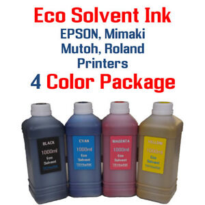 Eco Solvent Ink 4 Multi color 1000ml Epson Dx5 Dx7 Printhead Mimaki Roland