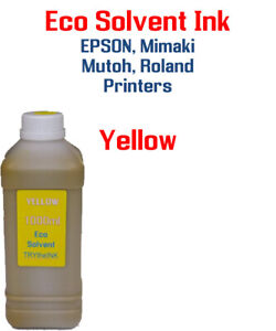Eco Solvent Ink Yellow 1000ml Epson Dx5 Dx7 Printhead Mimaki Roland Mutoh