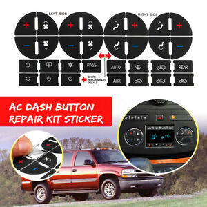 Ac Heater Button Repair Kit Dual Climate Control Dash Decal Stickers Pvc For Gm