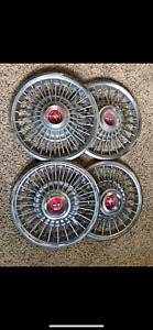 1968 Mustang Wire Hubcaps Oem Original With Center Red Emblem