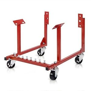 Goplus New 1000lb Auto Engine Cradle Stand Chevy V8 W Dolly Wheels