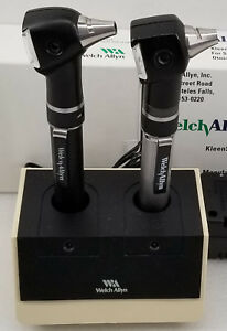 2 Welch Allyn Cordless Otoscopes W Charger And 2 Dispensers