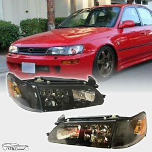 For 1993 1997 Toyota Corolla Dx Black Headlights Clear Lens Headlamps Pair Set