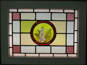 Victorian English Lead Stain Glass Window Hand Painted Flowers 23 75 X 17 75