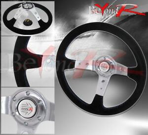 350mm Suede Black Blue Stitch 6 bolt Hole Steering Wheel Jdm R Button Horn